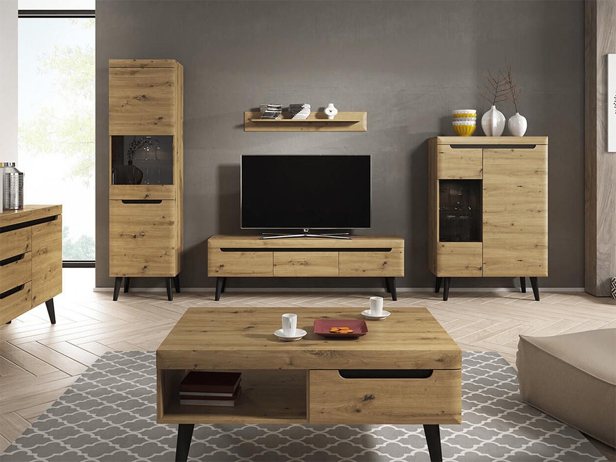 meuble tv 107 cm nordi retro chene et noir bobochic