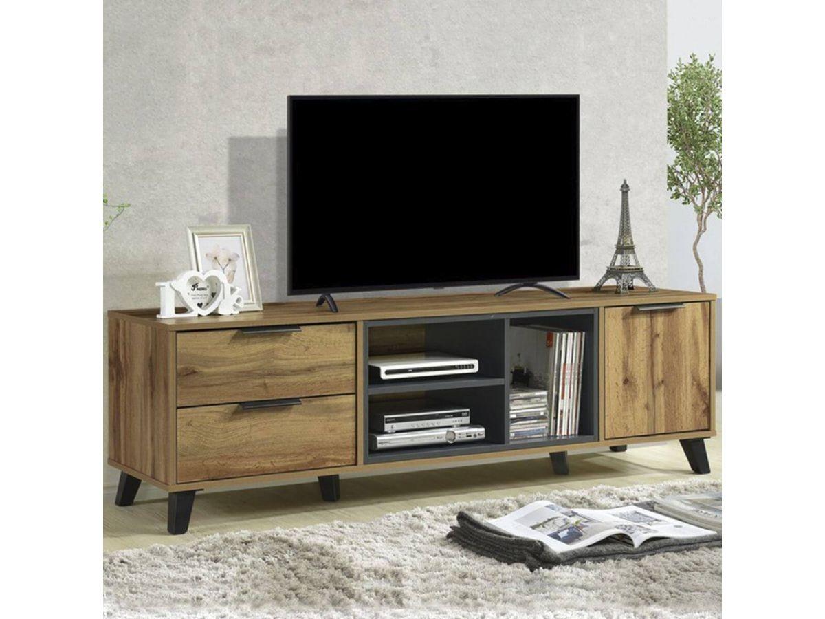 meuble tv 160 cm brima 2 tiroirs 1 porte plusieurs espaces de rangements