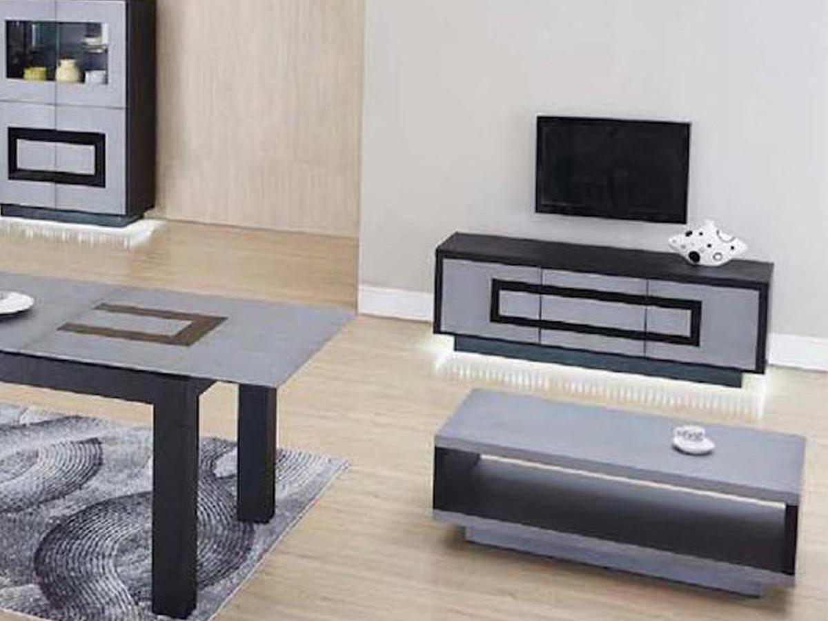meuble tv 3 portes meteor gris argent noir bobochic