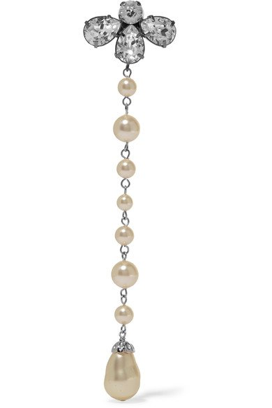 BALENCIAGA fancy Silver-tone, crystal and faux pearl clip