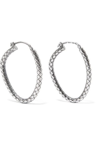 BOTTEGA VENETA beautiful Oxidized sterling silver hoop