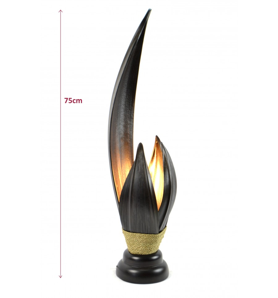 grande lampe de salon en feuille de cocotier h75cm fabrication artisanale