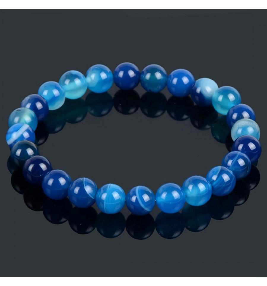 Bracelet En Agate Bleue Porte Chance Bonheur Paix
