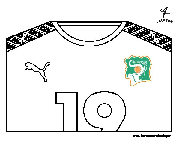 Ivory Coast World Cup 2014 t-shirt coloring page
