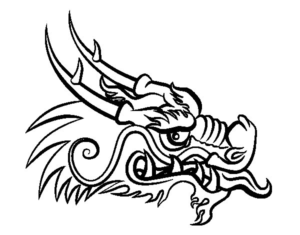 Chinese New Year Dragon Head Page Coloring Pages