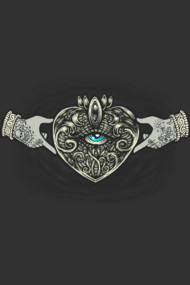 Claddagh Eye Shirt. Traditional Irish Celtic heart love friendship symbol in a neo traditional victorian tattoo rendition.