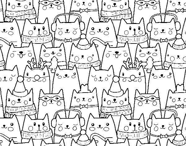 Dibujo de Gatitos Navidad para Colorear  Dibujosnet