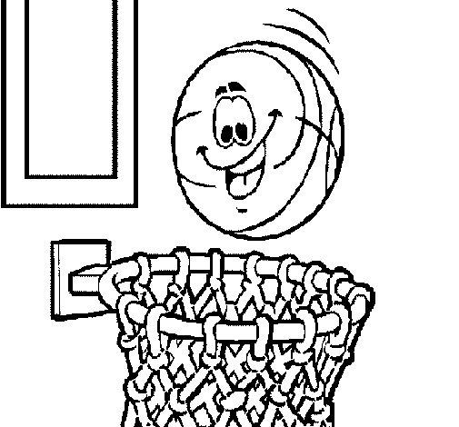 Dibujo de Pelota y canasta para Colorear