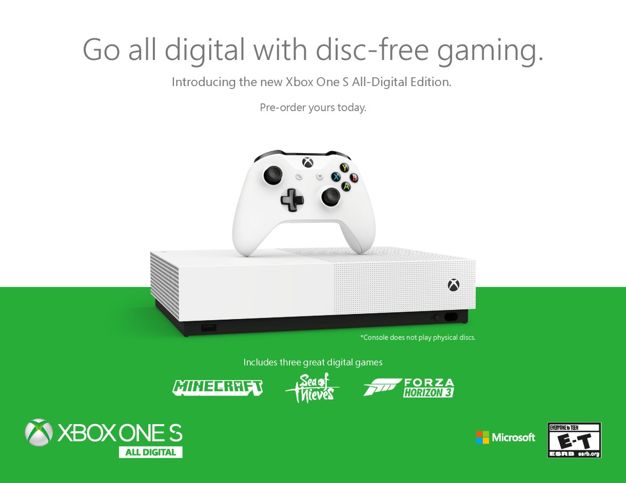 Xbox One S All-Digital Edition Console Officially Announced
