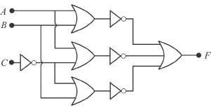 Which one of the following gives the output Ffor the logic
