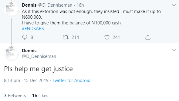 Netherlands-based Nigerian man cries out as SARS officials allegedly extort him of #600,000 when he returned home for the holidays