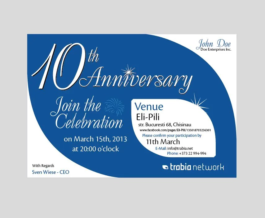 Invitation Letter For Business Anniversary