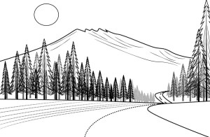 line drawing landscape mountain simple illustrate drawings very vietnam paintingvalley