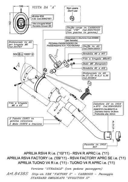 APRILIA TUONO V4 R/APRC LEOVINCE FACTORY 'S' SLIP ON EXHAUST