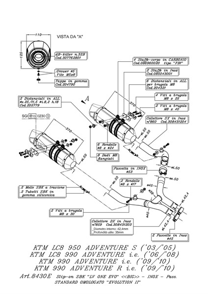 KTM LC8 950 ADVENTURE S LEOVINCE LV ONE EVO SLIP ON EXHAUSTS