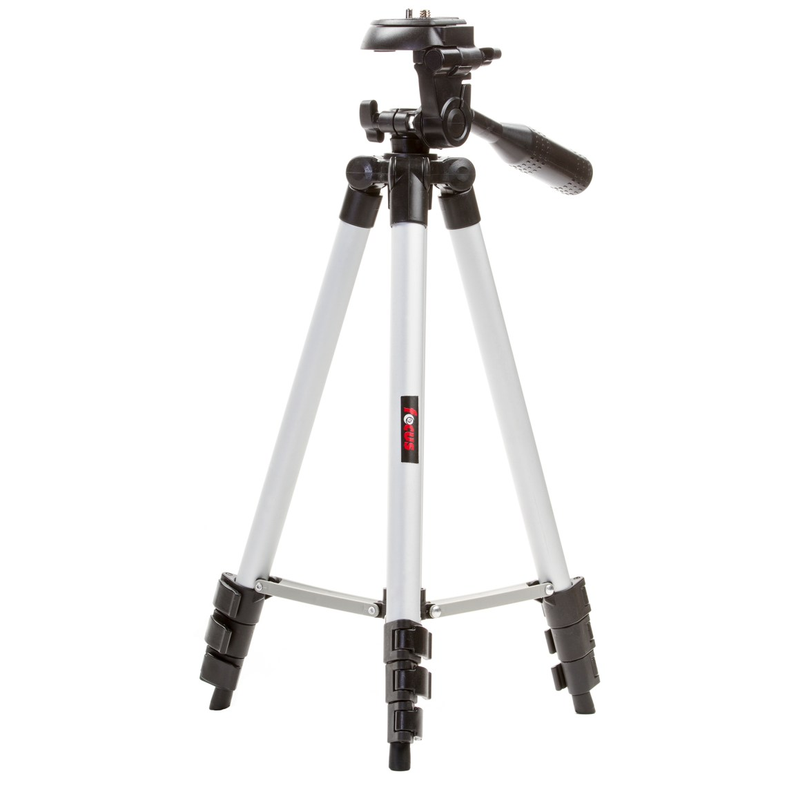 "This 50"" tripod is a great solution for the beginner photographer who's using a small point and shoot camera or camcorder. It's aluminum construction is extremely lightweight so it's very easy to take with you when you need the ability to take photos without risking image blur. A built-in bubble level and 3-way fluid pan head makes it easy to line up your shot perfectly. From family photos at home to landscape scenes in the park\, you'll love the results this tripod can deliver."