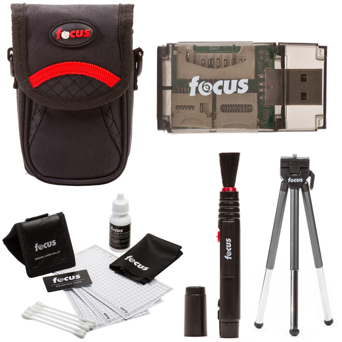 Point and Shoot Accessories for Small Size CamerasBundle Includes:•  Focus Standard Small Digital Camera Case•  Focus 5 Piece Digital Camera Accessory Kit•  Focus Lens Cleaning Pen• Focus All In One High Speed USB 2.0 Card Reader•  Focus Deluxe 8 Inch Table Tripod