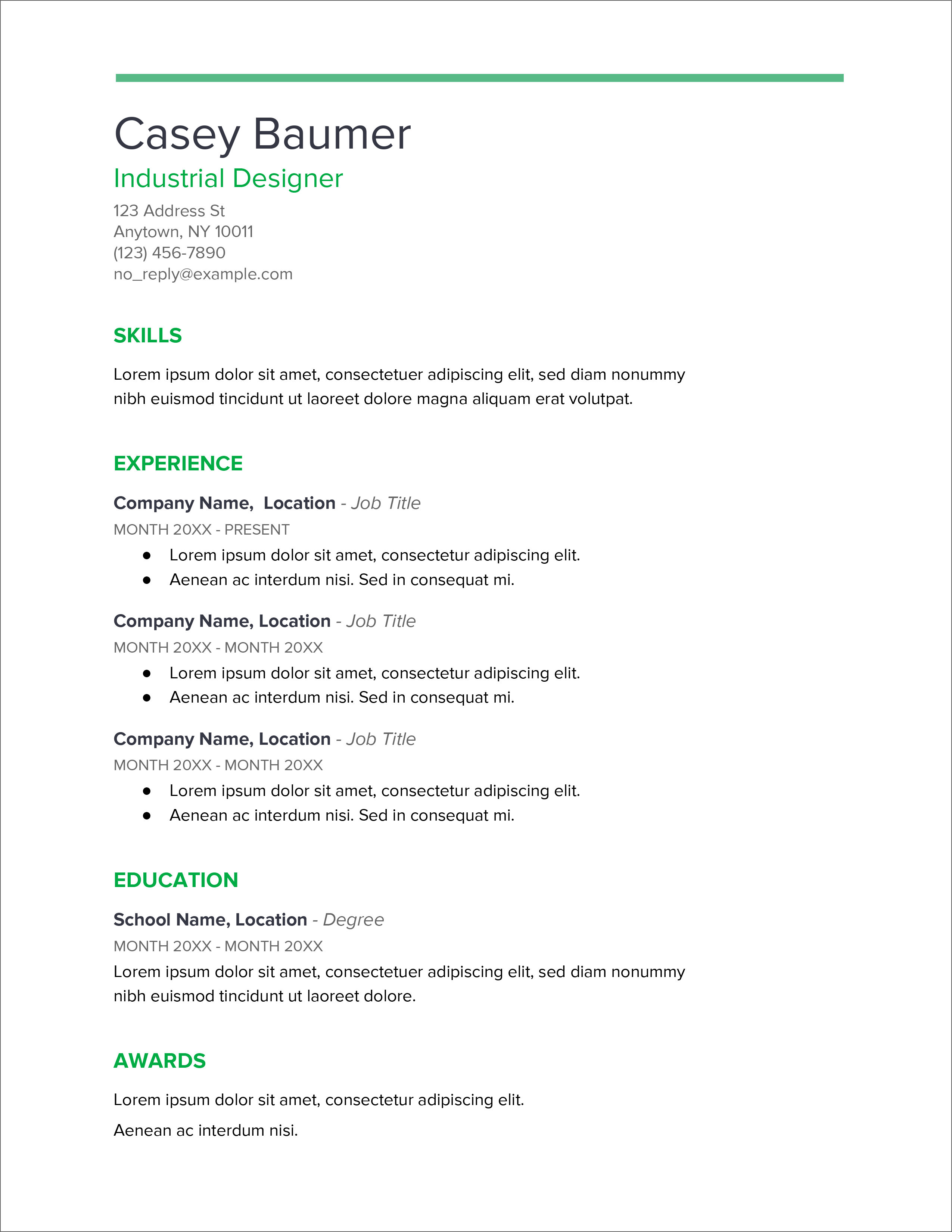 Normal Resume Format In Word Download