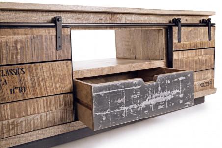 meuble tv en bois et metal harlem