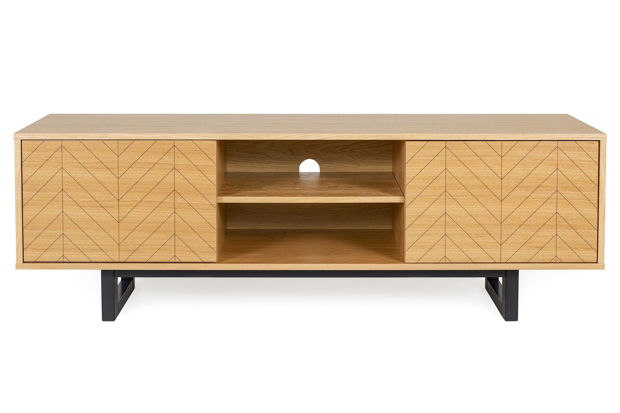 meuble tv bois clair et pietement noir style scandinave hellin