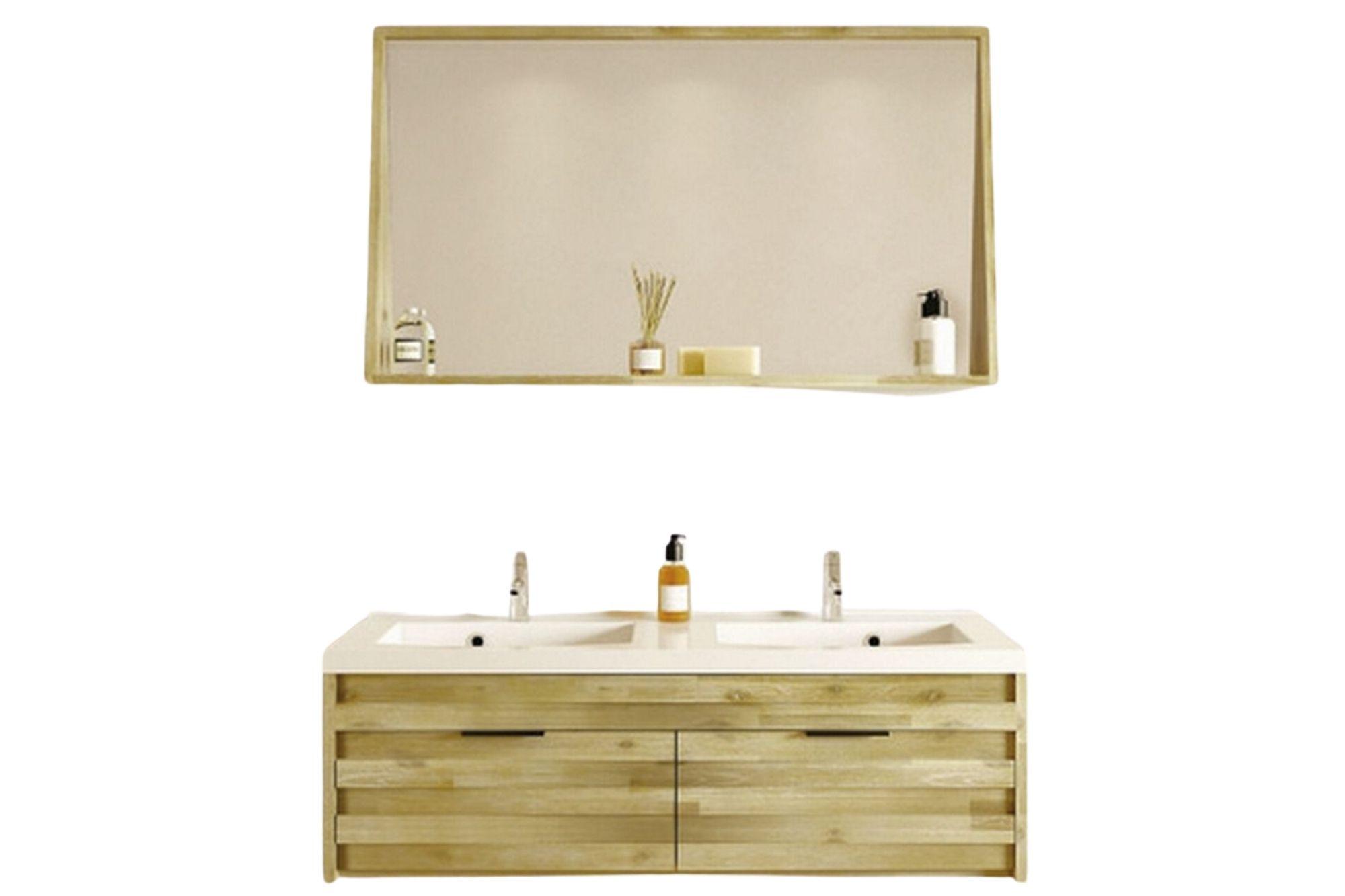 meuble de salle de bain en bois d acacia avec double vasque et miroir hellin