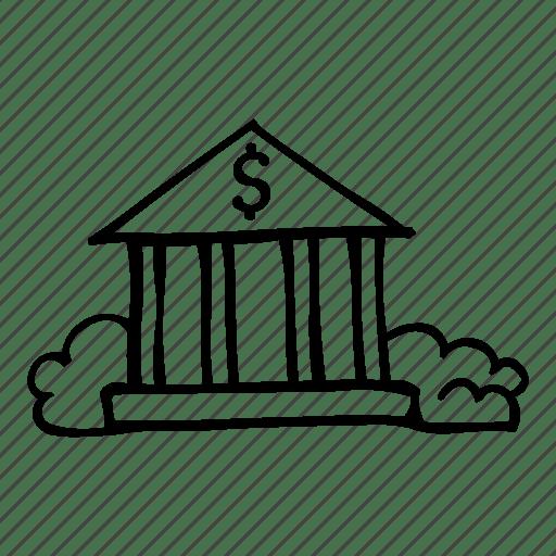 Bank, building, capital, dollar, fundamental icon