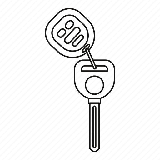 Car, key, line, lock, outline, remote, unlock icon