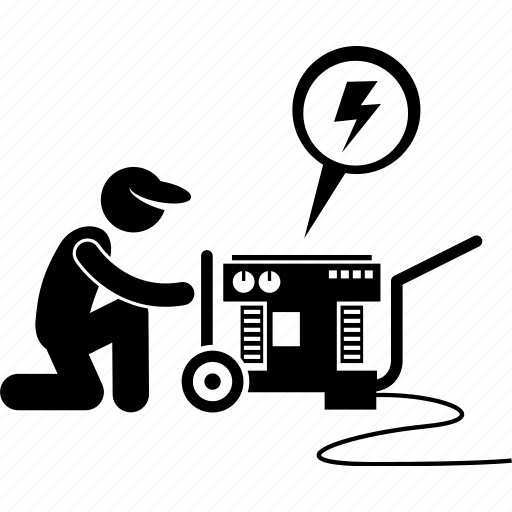 Electric, engine, generator, machine, man, motor, power icon