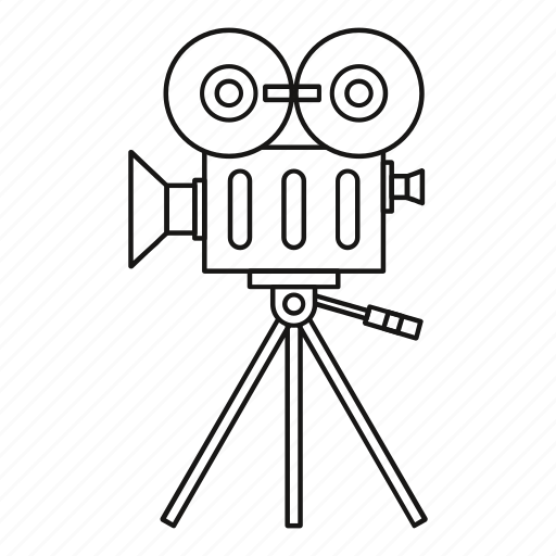 Camera line movie outline reel retro video icon