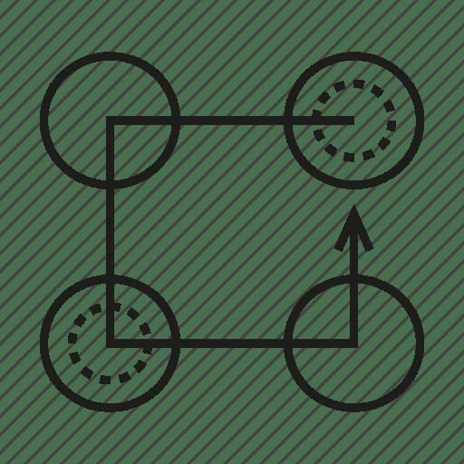 Arrow, diagram, logic, process, step icon