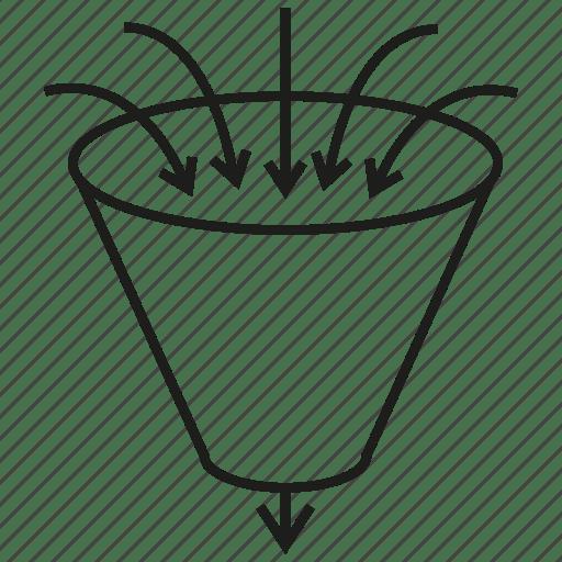 Analytics, arrow, data, filter, flow, funnel, leak icon
