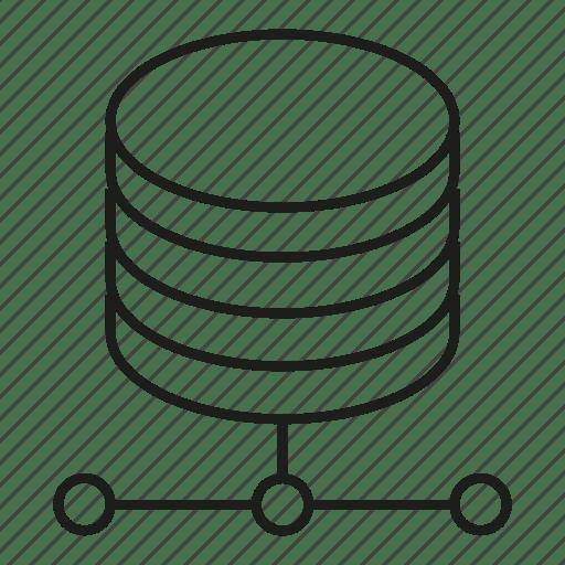 Data center, database, network, server icon