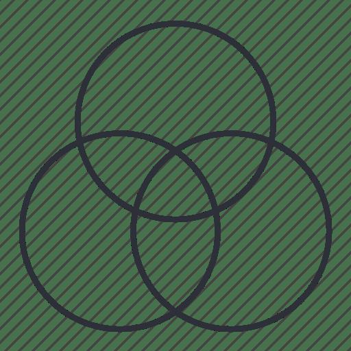 Analysis, comparison, design thinking, venn diagram icon