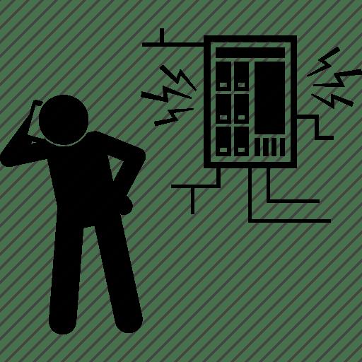 Calling, electrical, fusebox, help, man, phone icon