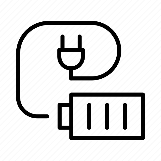 Battery, charging, plug, power, wire icon