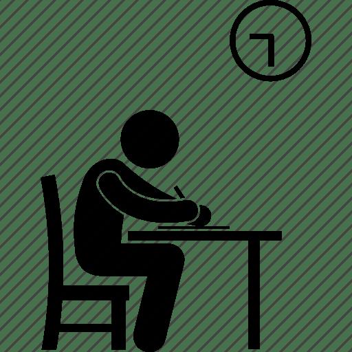 Exam, examination, man, paper, taking, test icon