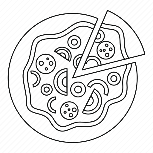 Fast, food, line, lunch, outline, pizza, slice icon