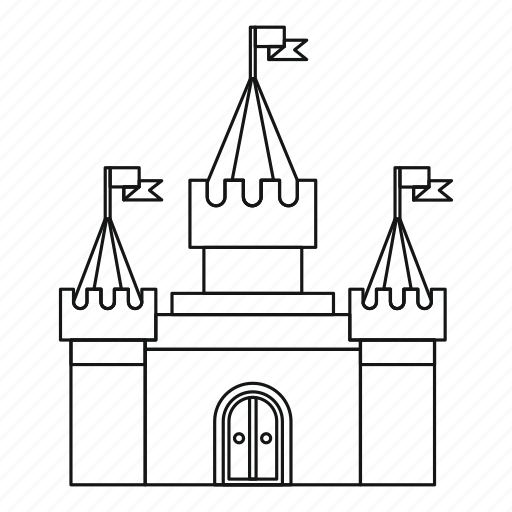 Building, castle, fortress, line, old, outline, tower icon