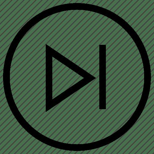 Arrow, forward, go, music, next, play, video icon