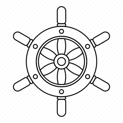 Line, outline, ship, ship wheel, steering, thin, wheel icon