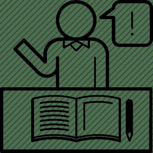 A, answer, classroom, help, question, study, teach icon