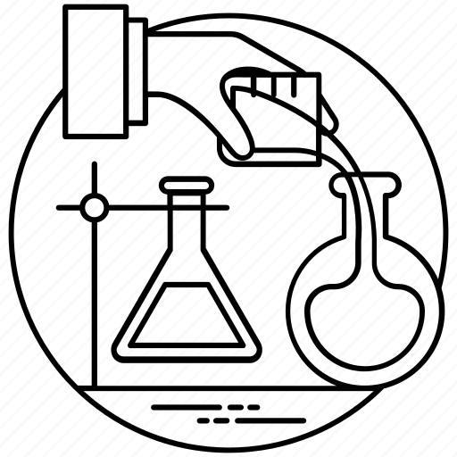 Chemical flask, lab experiment, lab research, laboratory