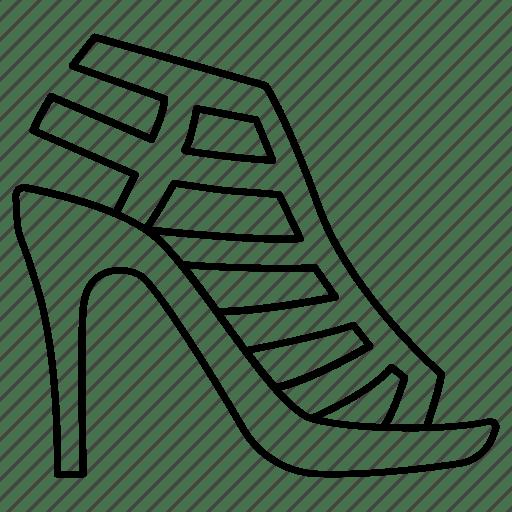 Gladiator, heel, high, ladies, leather, sandals, shoe icon