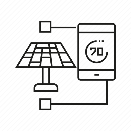 Monitor, smart phone, solar, solar panel icon