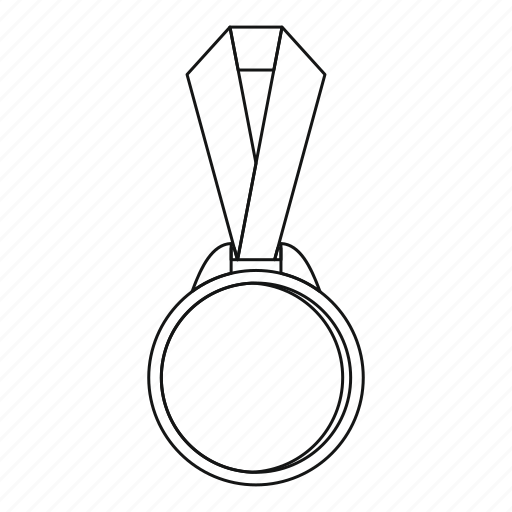 Award, line, medal, outline, ribbon, round, success icon