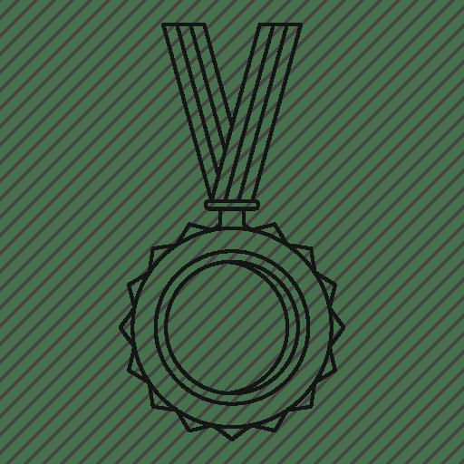 Award, decoration, label, line, medal, outline, success icon