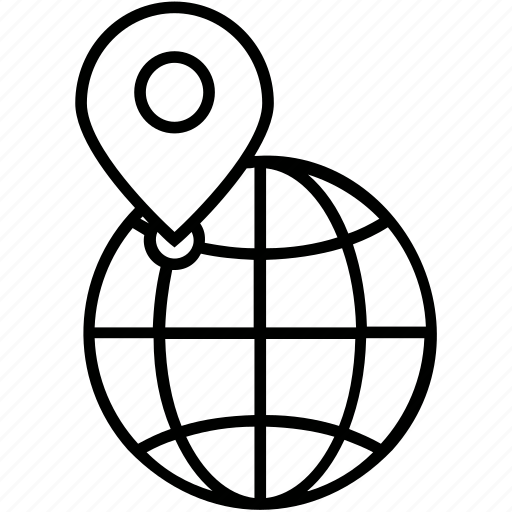 Globe, local seo, pin, planet, worldwide icon