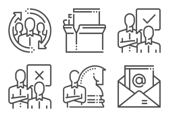 Human resource management icons by Howcolour