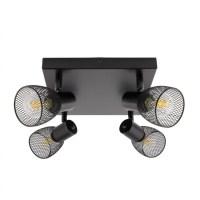 Black Adjustable Grid Ceiling Light with 4 Spotlights ...