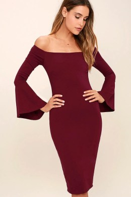 All She Wants Burgundy Off-the-Shoulder Midi Dress 1